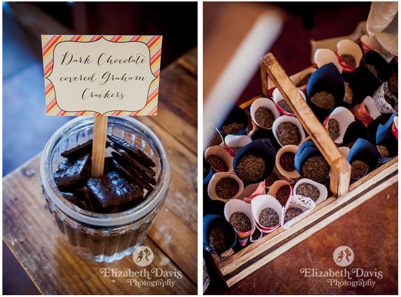 Sweet table with chocolates and vintage table | John Gandy Events | Southern outdoor wedding | Elizabeth Davis Photography