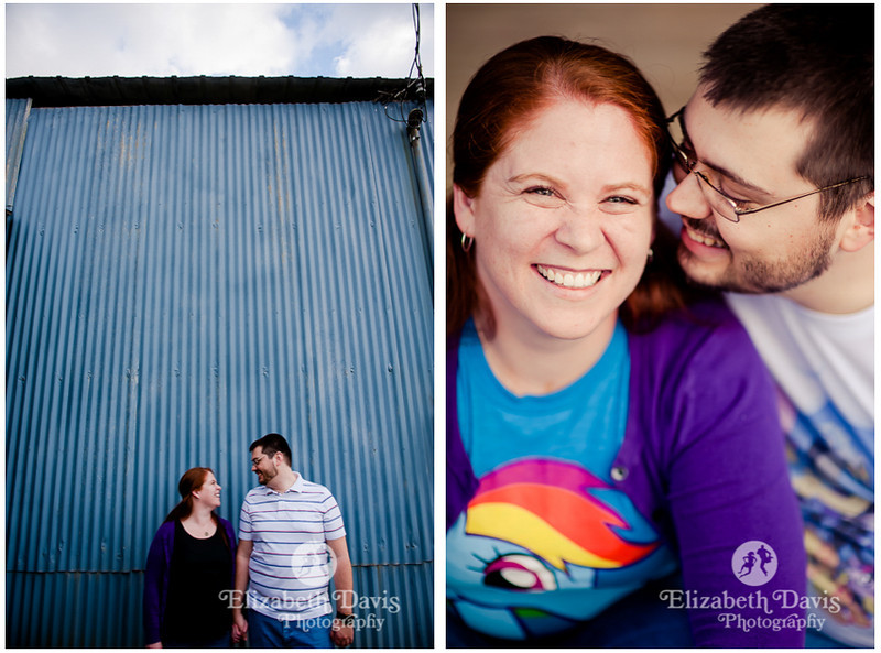 colorful backyard engagement session | blue barn & purple cardigan