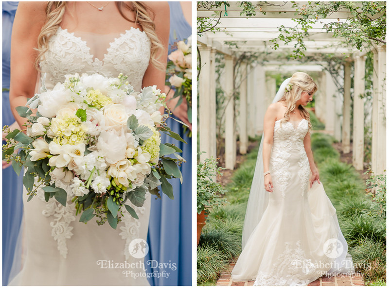brides bouquet in sage green and white and gorgeous bride in ivory beaded dress with lace   Alabama wedding photographer   Elizabeth Davis Photography