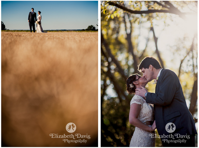 bride and groom together in a field with blue sky | Southern outdoor wedding | Elizabeth Davis Photography
