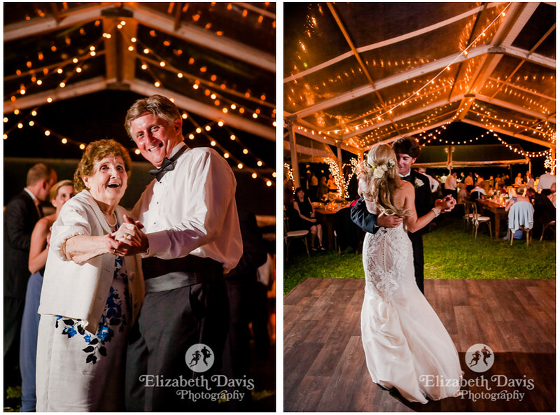 candid natural wedding photos of bride and groom and dad and his mother dancing at reception   Elizabeth Davis Photography