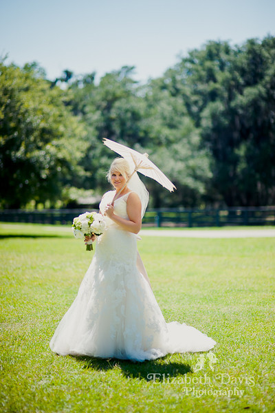 Tallahassee wedding photography bridal portrait with parasol