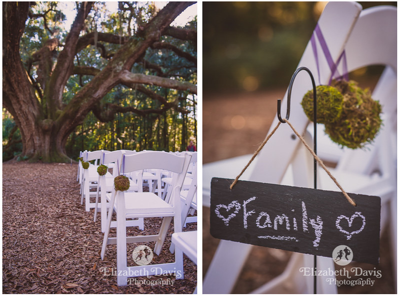 Enchanted outdoor Fall Lichgate Wedding | chalk signs, moss and ribbon aisle markers | Elizabeth Davis Photography