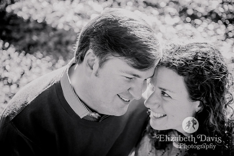 pebble hill engagement photos | bride and groom in black and white