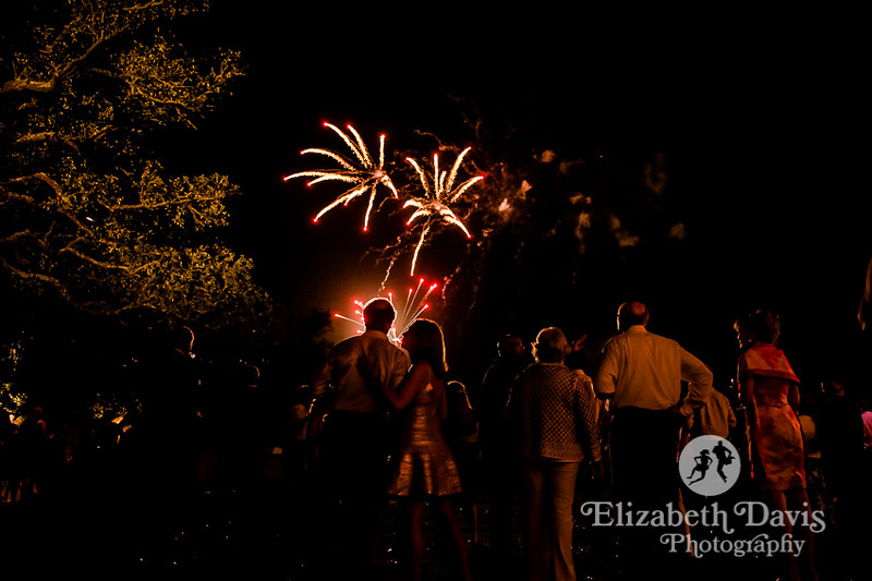 spectacular fireworks end the wedding reception at this outdoor waterfront Alabama Wedding   Elizabeth Davis Photography