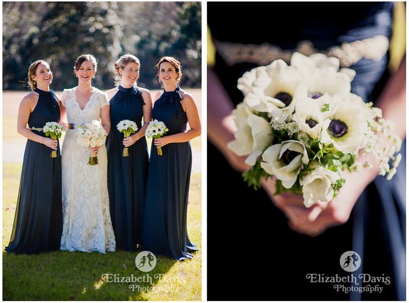 bride and bridesmaids in dark blue gowns with white bouquets flowers | Southern outdoor wedding | Elizabeth Davis Photography