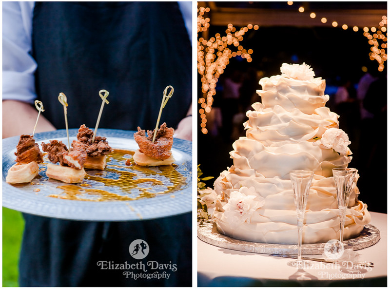 chicken and waffles with maple syrup appetizer cocktail hour and gorgeous five tier wedding cake   Elizabeth Davis Photography