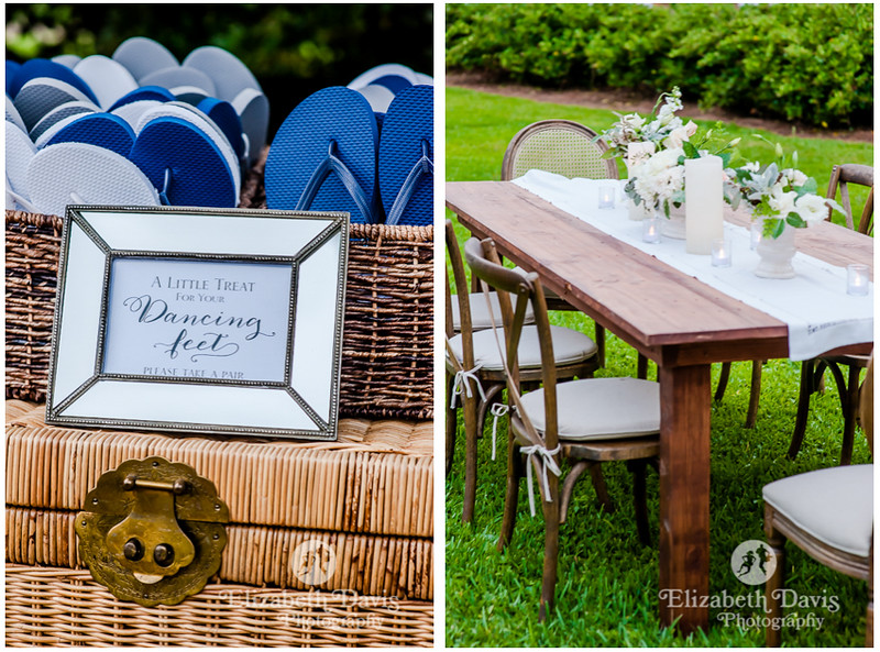 shoe swap for ladies in heels and long family style dinner tables at outdoor wedding reception in Alabama   Elizabeth Davis Photography