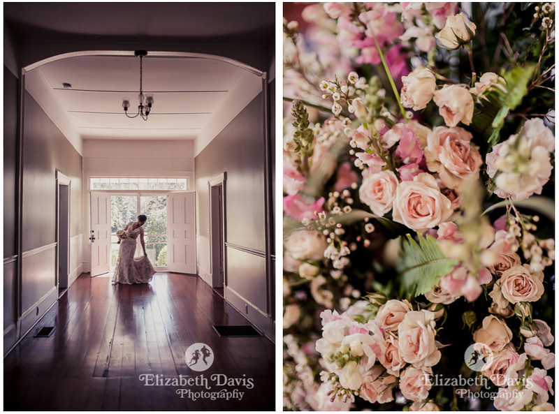bride getting ready | bride in long hallway with wood floors and creamy pink baby roses | Southern outdoor wedding | Elizabeth Davis Photography