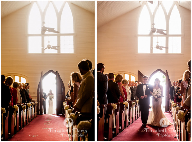 bride walking up aisle with her dad at St. Lawrence Catholic Chapel on the water in Point Clear Alabama   Elizabeth Davis Photography