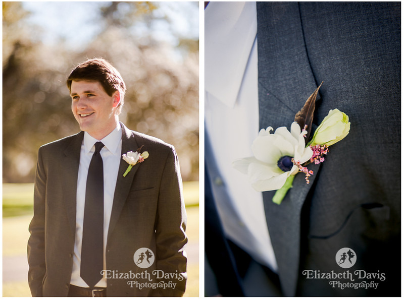 groom getting ready | boutonniere with white flower and quail feather | Southern outdoor wedding | Elizabeth Davis Photography