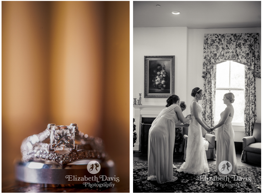 ring shot in front of books and bride getting ready in front of sunny upstairs window   Southwood House wedding   Elizabeth Davis Photography